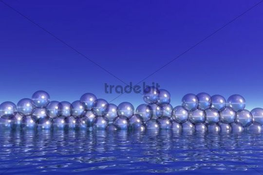 Air bubbles on water surface, 3D computer graphics
