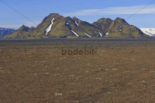 Mountains in an arid volcanic landscape, Eyjafjallajoekull, Iceland, Europe