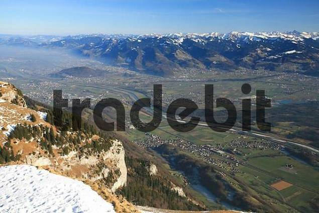 View from Hoher Kasten mountain to the Rhine river valley and the Vorarlberg Alps Austria, Appenzell Innerrhoden canton, Switzerland