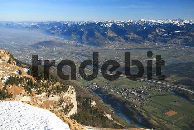 View from Hoher Kasten mountain to the Rhine river valley and the Vorarlberg Alps Austria, Appenzell Innerrhoden canton, Switzerland