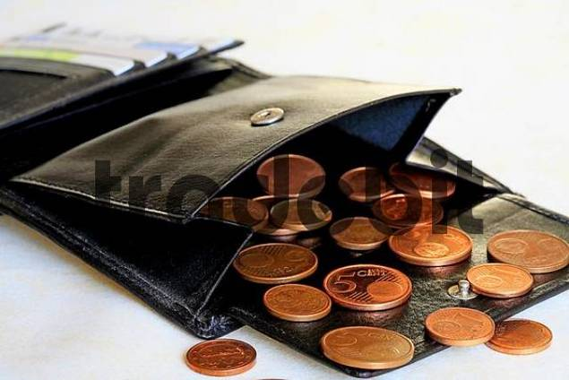 Purse witz diffrent bank cards and Eurocent coins