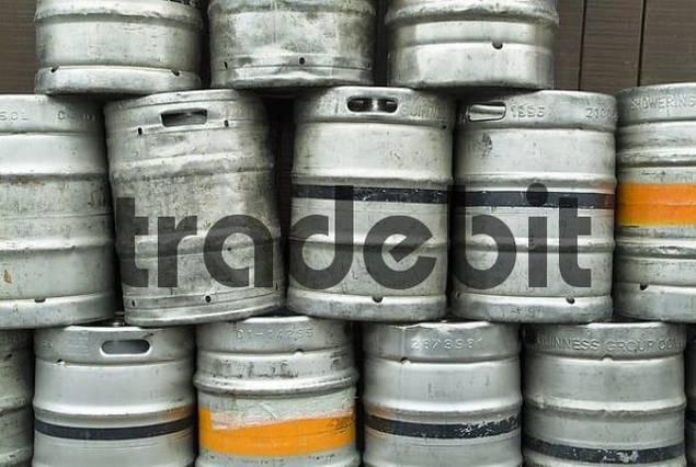 Empty Beer Barrels in front of an irish pub , Irland