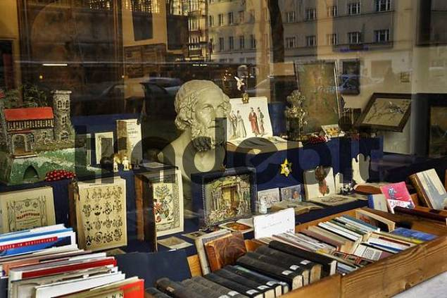 display window of a book shop in Schwabing, Munich, Bavaria, Germany