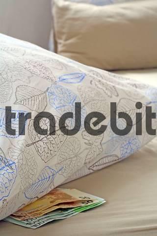Money hiding place under the pillow