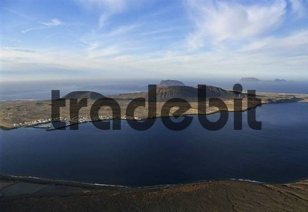 View from Lanzarote Island to La Graciosa island, Mirador del Rio of the artist Cesar Manrique, Canary Islands, Spain, Europe