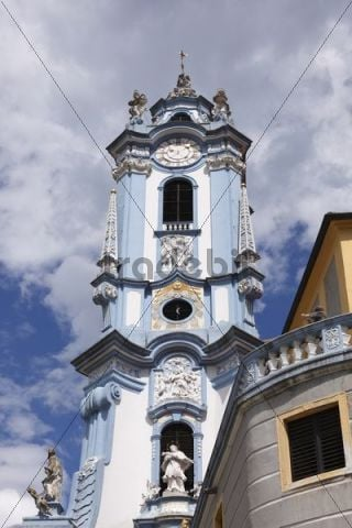 Church spire of the collegiate church, Duernstein, Wachau valley, Waldviertel region, Lower Austria, Austria, Europe