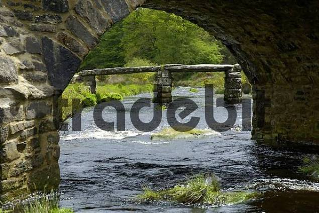 Clapper Bridge Postbridge Dartmoor National Park Devon England