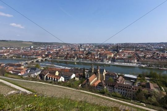View from Fortress Marienberg over Wuerzburg, Main River, Old Main Bridge, Wuerzburg, Franconia, Bavaria, Germany, Europe
