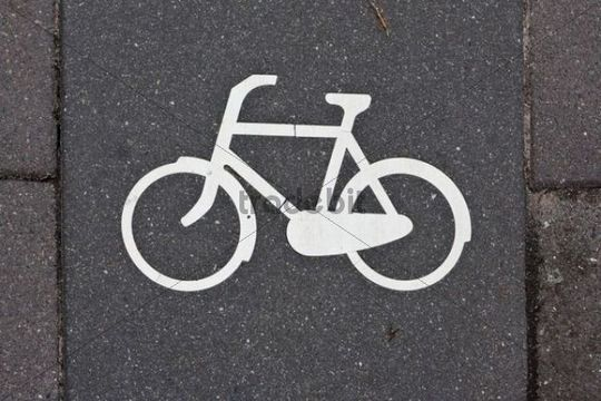 Sign for a cycle path, Amsterdam, Holland, Netherlands, Europe