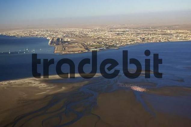 Swakopmund with a flamingo colony in front. Namib Desert, Namibia