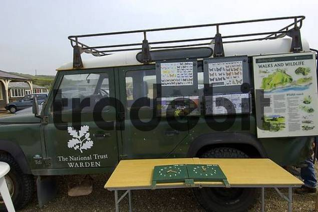 Country Park Car as info stall park Seven Sisters Cliffs Sussex England