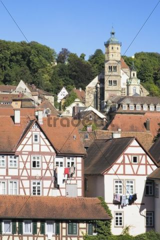 Old town with St. Michael Kirche church, Schwaebisch Hall, Hohenlohe, Baden-Wuerttemberg, Germany, Europe