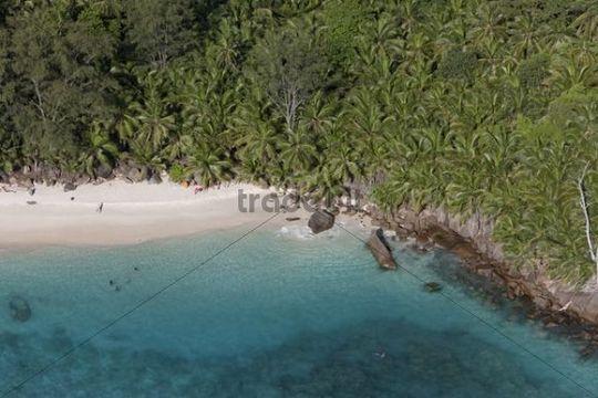 Beacht at the Banyan Tree Hotel on the Anse Intendance beach, Mahé Island, Seychelles, Indian Ocean, Africa