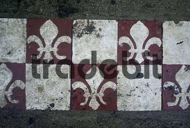 Fleur de Lis, design on asphalt