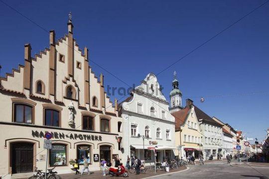 Main street in the centre of Freising, Upper Bavaria, Bavaria, Germany, Europe
