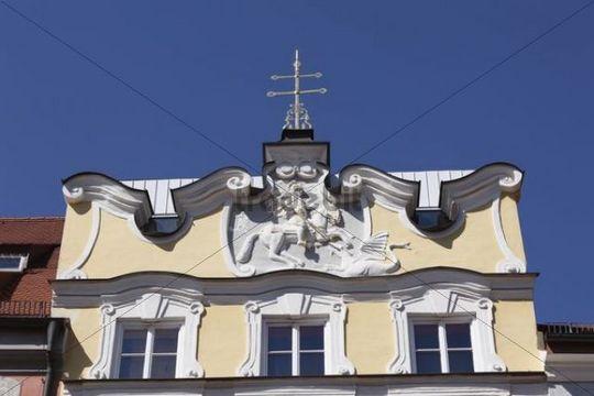 Relief of Saint George, Stadtschreiberhaus, Town Writers´ House, Freising, Upper Bavaria, Bavaria, Germany, Europe
