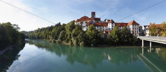 St. Mang Basilica and Lech river, Fussen, Ostallgaeu, Allgaeu, Swabia, Bavaria, Germany, Europe