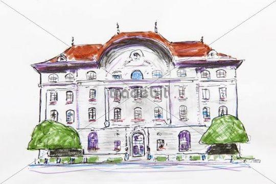 Swiss National Bank Building Bern Switzerland Drawing By Gerhard Kraus Kriftel