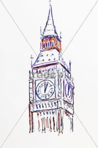 Clock tower  Big Ben  London  England  Great Britain  drawing by    London Clock Tower Drawing