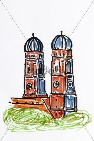 Munich Frauenkirche church, Munich, Bavaria, Germany, drawing by Gerhard Kraus, Kriftel