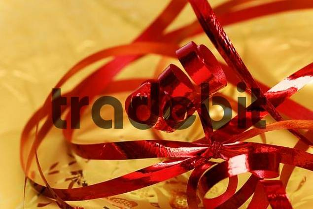 Unwrapped Christmas present ribbon