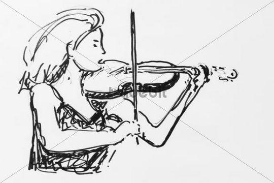 White Violin Drawing Violin Player Drawing