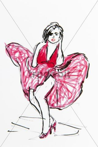 Marilyn Monroe with flying dress, portrait, drawing ...