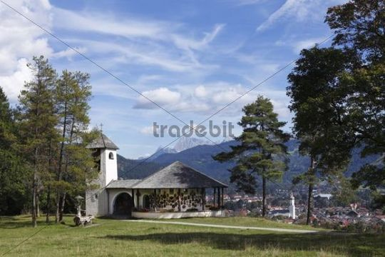 Kriegergedaechtniskapelle memorial chapel located above Garmisch-Partenkirchen, Werdenfelser Land region, Upper Bavaria, Bavaria, Germany, Europe
