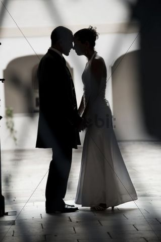 Bridal couple, silhouette