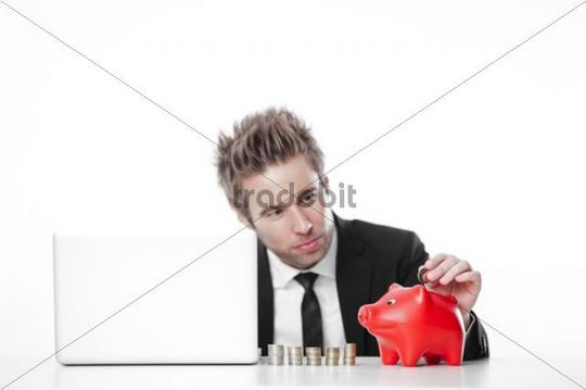 Businessman, financial advisor, with laptop, coins and piggy bank, symbolic image