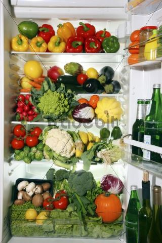 Fridge Filled With Different Kinds Of Vegetables And Fruit