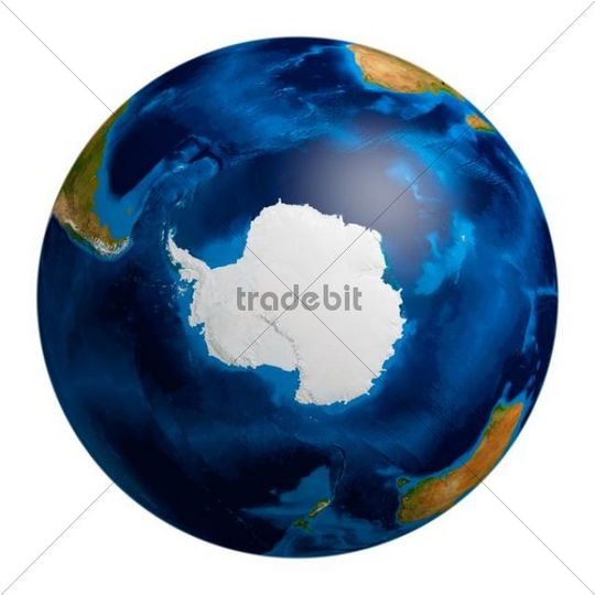 Earth globe showing the Antarctic region, 3D illustration