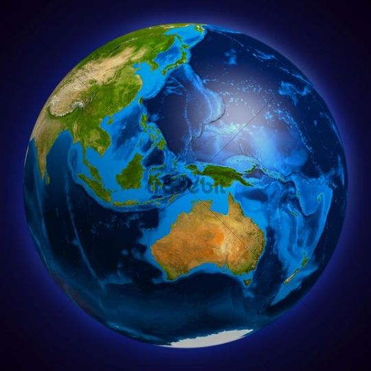 Earth globe showing Oceania, Australia, Indonesia, Papua New Guinea, New Zealand, 3D illustration