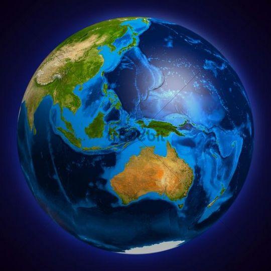 Earth globe showing Oceania, Australia, Indonesia, Papua New Guinea, New Zealand, 3D illustration