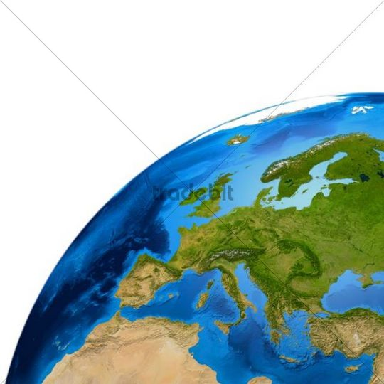Earth globe showing European continent, 3D illustration
