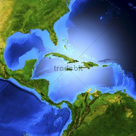 Detailed 3D render of the map of Central America