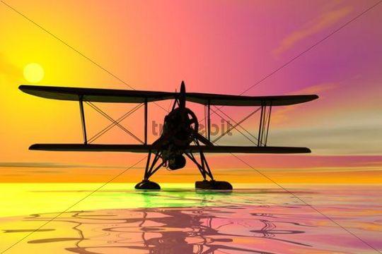 Seaplane landing, silhouette, 3D graphics