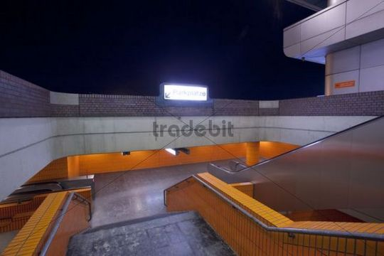 Stairway to the parking deck at night, ICC International Congress Centre, Berlin, Germany, Europe