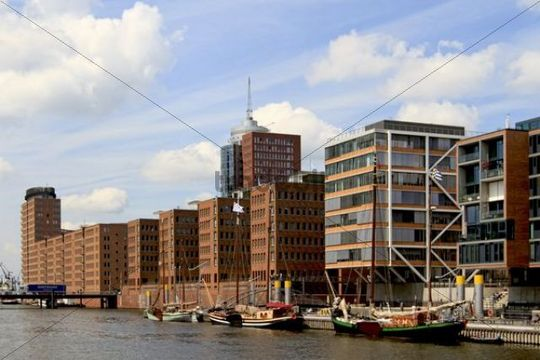 View to Kehrwiederspitze, HafenCity, Hamburg, Germany, Europe