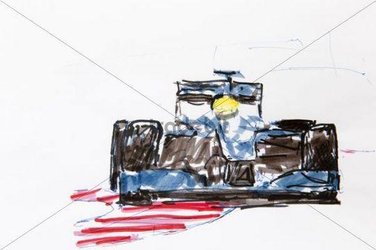 Formula 1 racing car, drawing, artist Gerhard Kraus, Kriftel, Germany, Europe