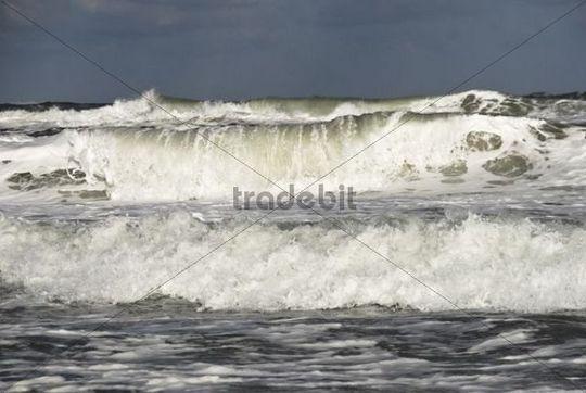Waves on the beach, Henne beach, West Jutland, Denmark, Europe