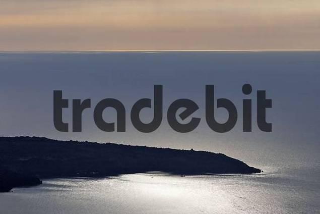 volcanic island Nea Kameni, Firostefani, Santorini, Greece