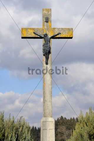 Field cross with a figure of Christ, Swabian Alb, Baden-Wuerttemberg, Germany, Europe