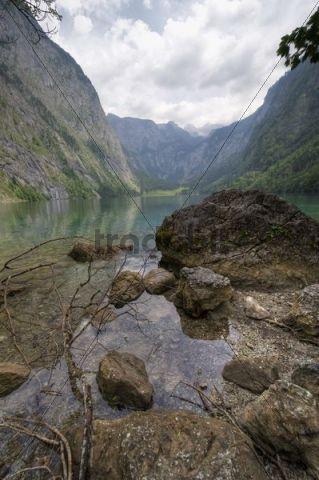 Obersee Lake, southeast of Koenigssee Lake in the Berchtesgaden Alps, Upper Bavaria, Bavaria, Germany, Europe