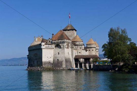 Château de Chillon, Chillon Castle, Montreux, Canton Vaud, Lake Geneva, Switzerland, Europe