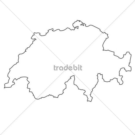 Outline map of switzerland download places