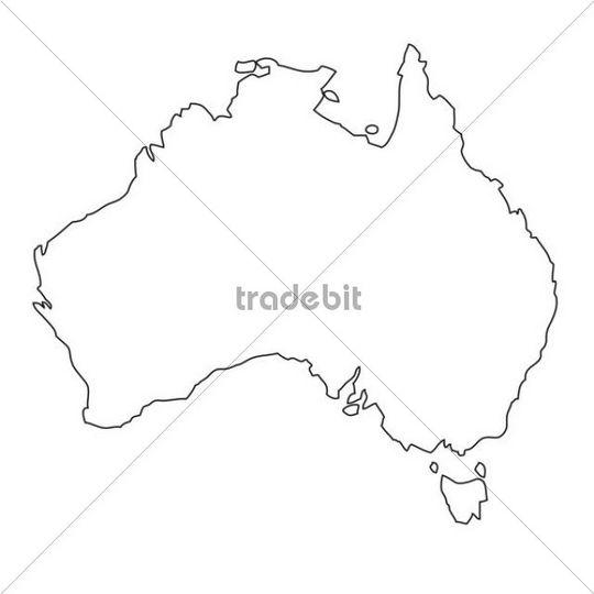 Outline, map of Australia