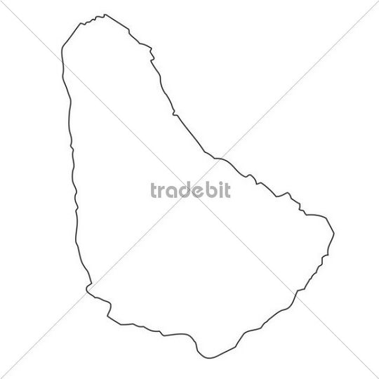 Outline, map of Barbados