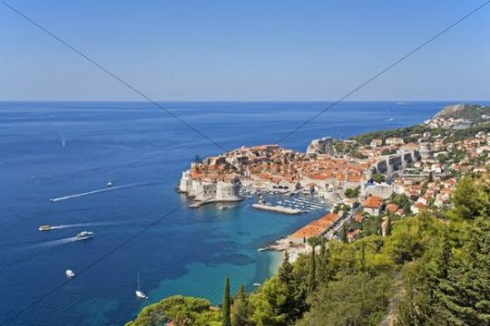 View over Dubrovnik from Srd Mountain, Croatia, Europe