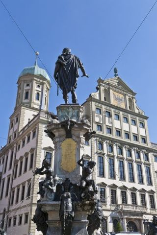Augustusbrunnen fountain in front of the town hall, Rathausplatz town hall square, Augsburg, Bavaria, Germany, Europe